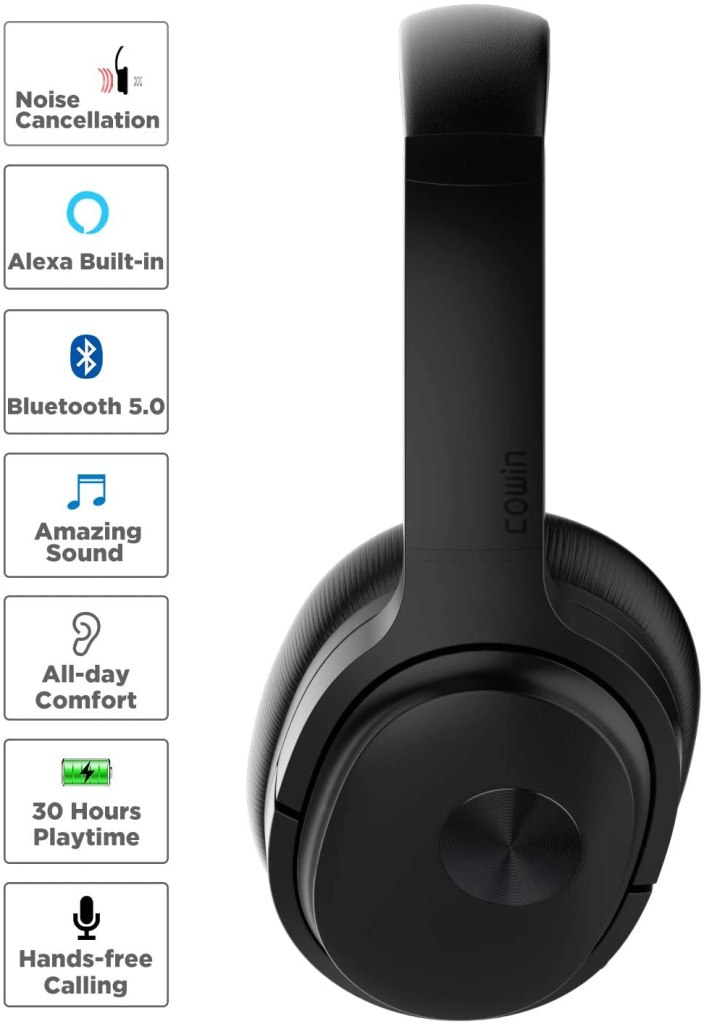 COWIN SE7 Active Noise Cancelling Headphones with Alexa Voice Control, Bluetooth Headphones Wireless Headphones Over Ear with Microphone, 30 Hours Playtime for Travel/Work.