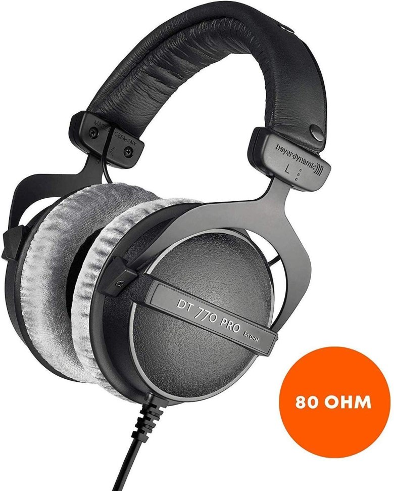 Beyerdynamic DT 770 PRO 80 Ohm Over-Ear Studio Headphones. Enclosed design, wired for professional recording and monitoring
